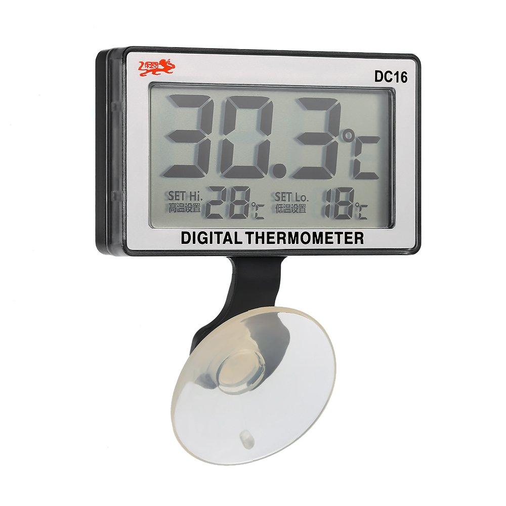 Anself - LCD Termómetro De Acuario Digital Con Ventosa, Alarma De Temperatura Alta / Baja, Sumergible, 0 ° C ~ 50 ° C: Amazon.es: Bricolaje y herramientas