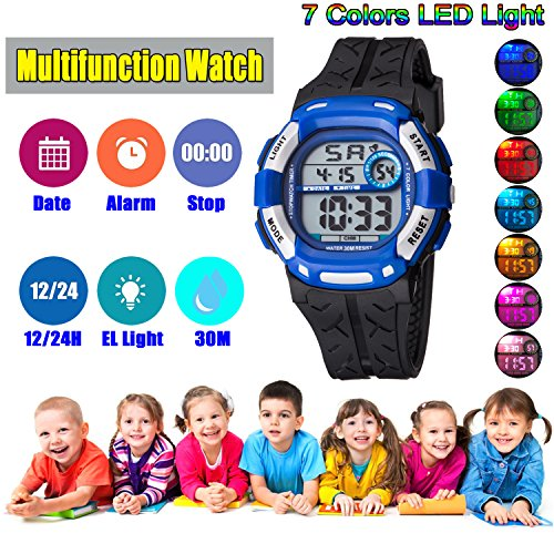 Kids Watch Sport Multi Function 30M Waterproof LED Alarm Stopwatch Digital Child Wristwatch for Boy Girl by Takyae (Image #3)