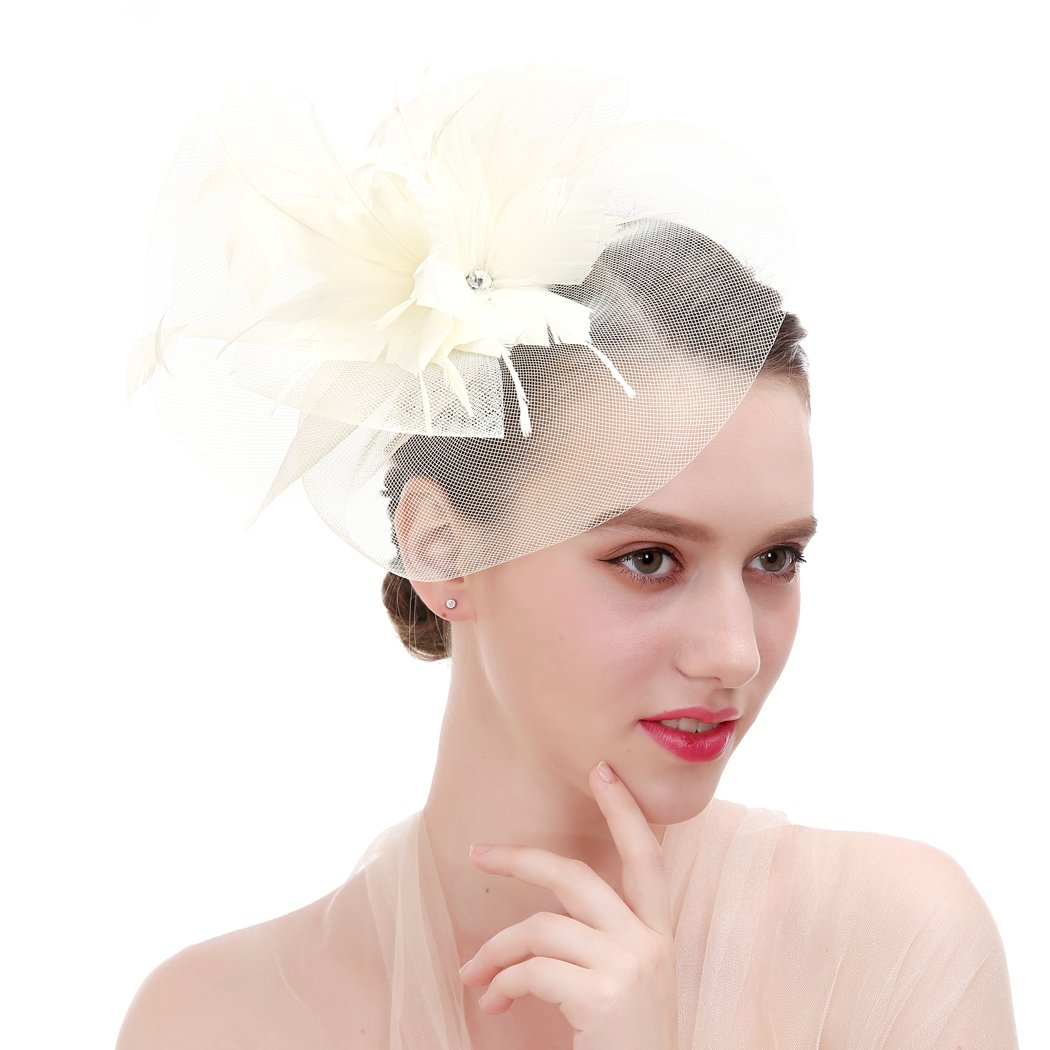 Women Feather Net and Veil Fascinator Headband Hair Clip for Races Bridal  Shower (Beige) at Amazon Women s Clothing store  d27f9056e78