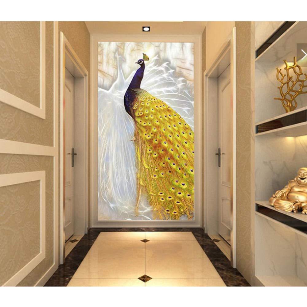 sasdasld DIY Embroidery,Round Diamond Full Rhinestone Flying Wing White Gold Peacock Diamond Painting Cross Stitch,Needlework-(20inX28in) by sasdasld