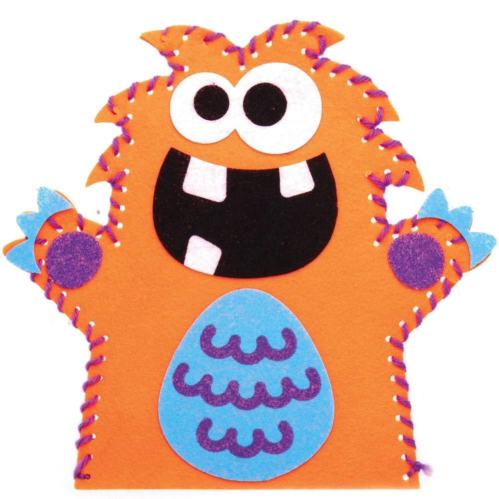 Paquet De 4 Arts Et Artisanat De Narration Pour Enfants Id/éal Pour Les F/êtes Les /Écoles Et Les Histoires Baker Ross AX244 Kits De Marionnette /À Main /À Coudre Monstres