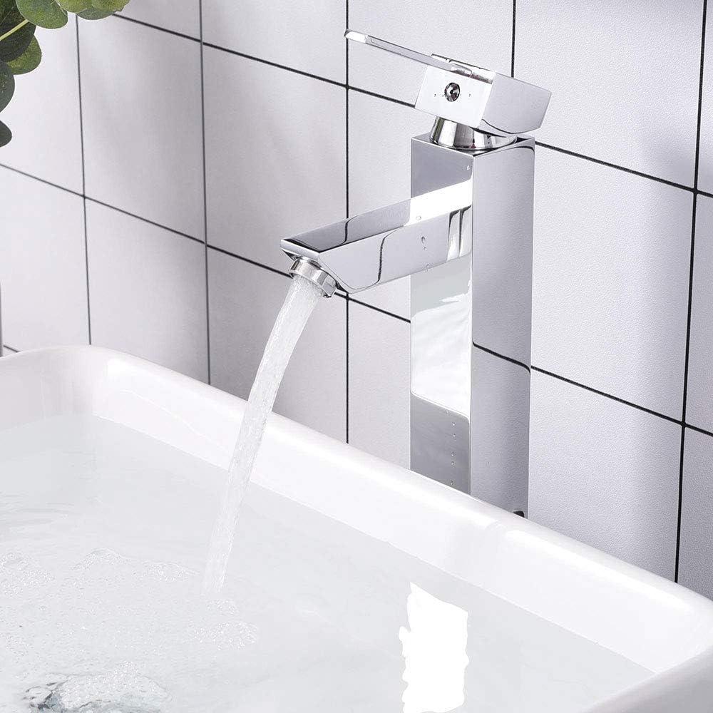 Aquaterior Modern Tall 1 Or 3 Hole Bathroom Faucet Single One Handle Under Mount Mixer Sink Faucet Chrome Diy Cupc Nsf
