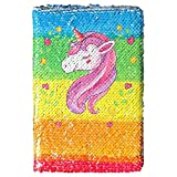 M-Aimee Magic Sequin Daily Journal Notebook for Kids Reversible Sequin Notebooks and Journals Best Daily Calendar and Gratitude Journal Office Notebook (Unicorn)