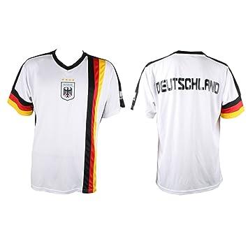 MC-Trend Alemania Hombre Camiseta Alemania fútbol Campeones del Mundo 4 Estrellas Blanco Negro Rojo