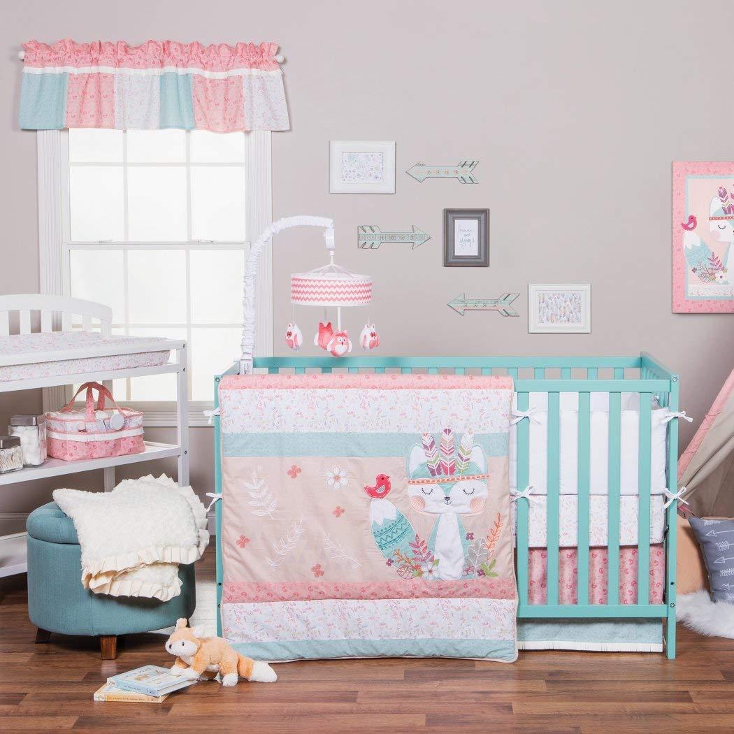 3ピースピンクホワイトブルーベビーガールズ動物ベビーベッド寝具セット、新生児FoxテーマNurseryベッドセット幼児子鳥Birdsフォレストフローラル花ブランケットキルト水平ストライプパターン、コットン   B079GD6XP8