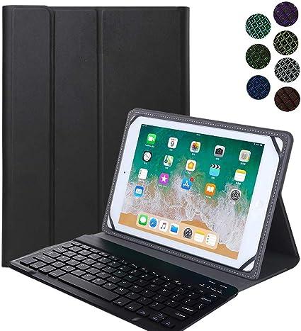 YGoal Teclado Funda para Todas 9-10.8 Pulgadas Tablet Inclu TECLAST P20HD/TECLAST M40, [Teclado Español Ñ] 7 Colors Backlit PU Cuero Funda con ...