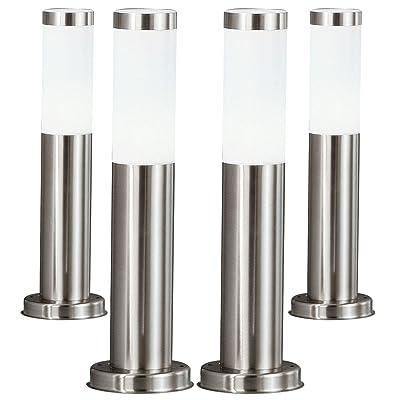 4 x lampadaire LED luminaire sur pied lampe DEL 7 watts éclairage terrasse jardin acier inoxydable