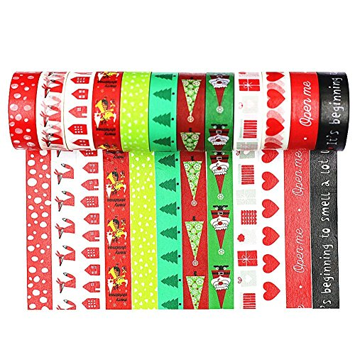 Wise Bird Christmast Washi Tape Santa, Snow, Christmas Tree, Chirstmas Candy, Christmas Deer and Merry Christmas Washi Tape, Red Green White Washi Tape, set of 12 - (Christmas Tree Pin Book)
