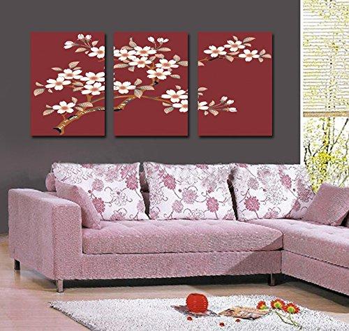 Abstarct Flores Arte Pintura Impresiones de Giclee de la lona, ??listo para colgar, decoracion casera moderna del arte de la pared Juego de 3 # 05-126