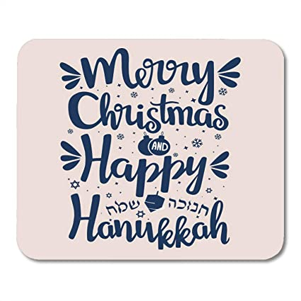 nakamela mouse pads abstraction festival hand written lettering with text happy hanukkah and merry christmas hanuka