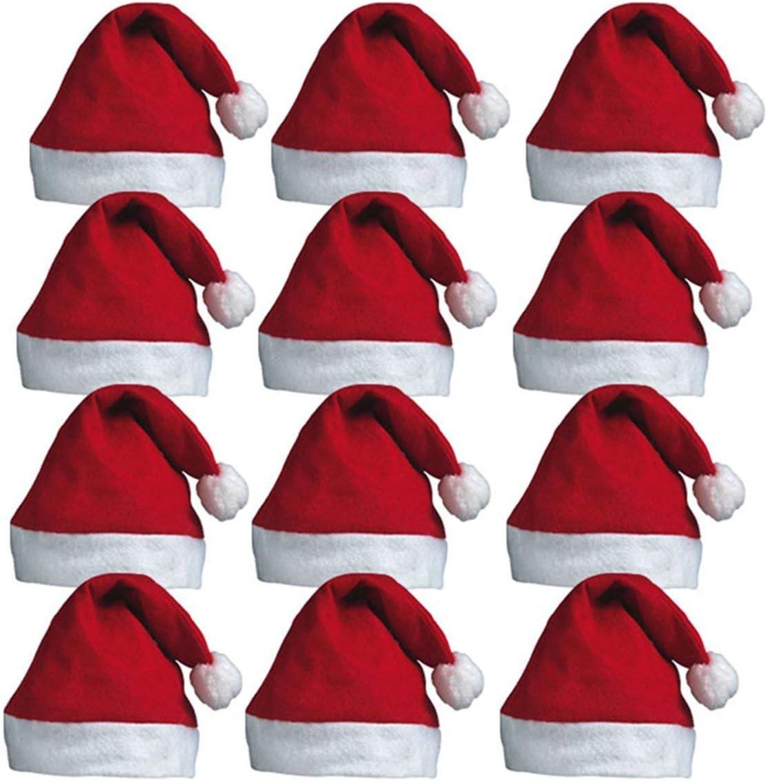 Menaki® 12 x Papá Noel Sombreros de Papá Noel Rojo con Bobble para Navidad Oficina Fiesta: Amazon.es: Productos para mascotas