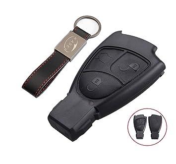 Carcasa Funda Llave Remoto Mando 3 Botones para Mercedes Benz Classe BC e CLK SLK (sin Logo) con Llavero de Cuero KASER