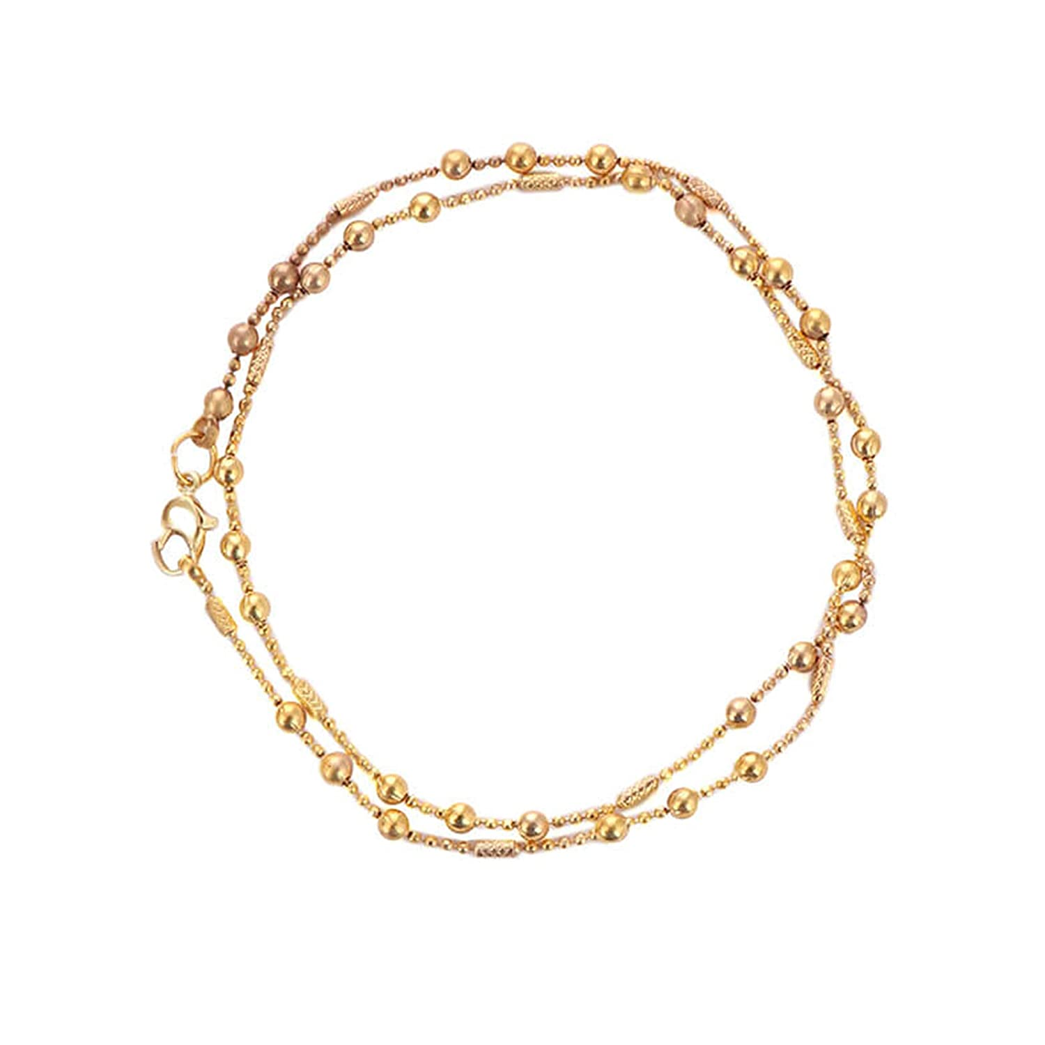 3c288af369216 Buy Tjori Contemporary Gold Plated Brass Anklet Layered Matar Mala ...