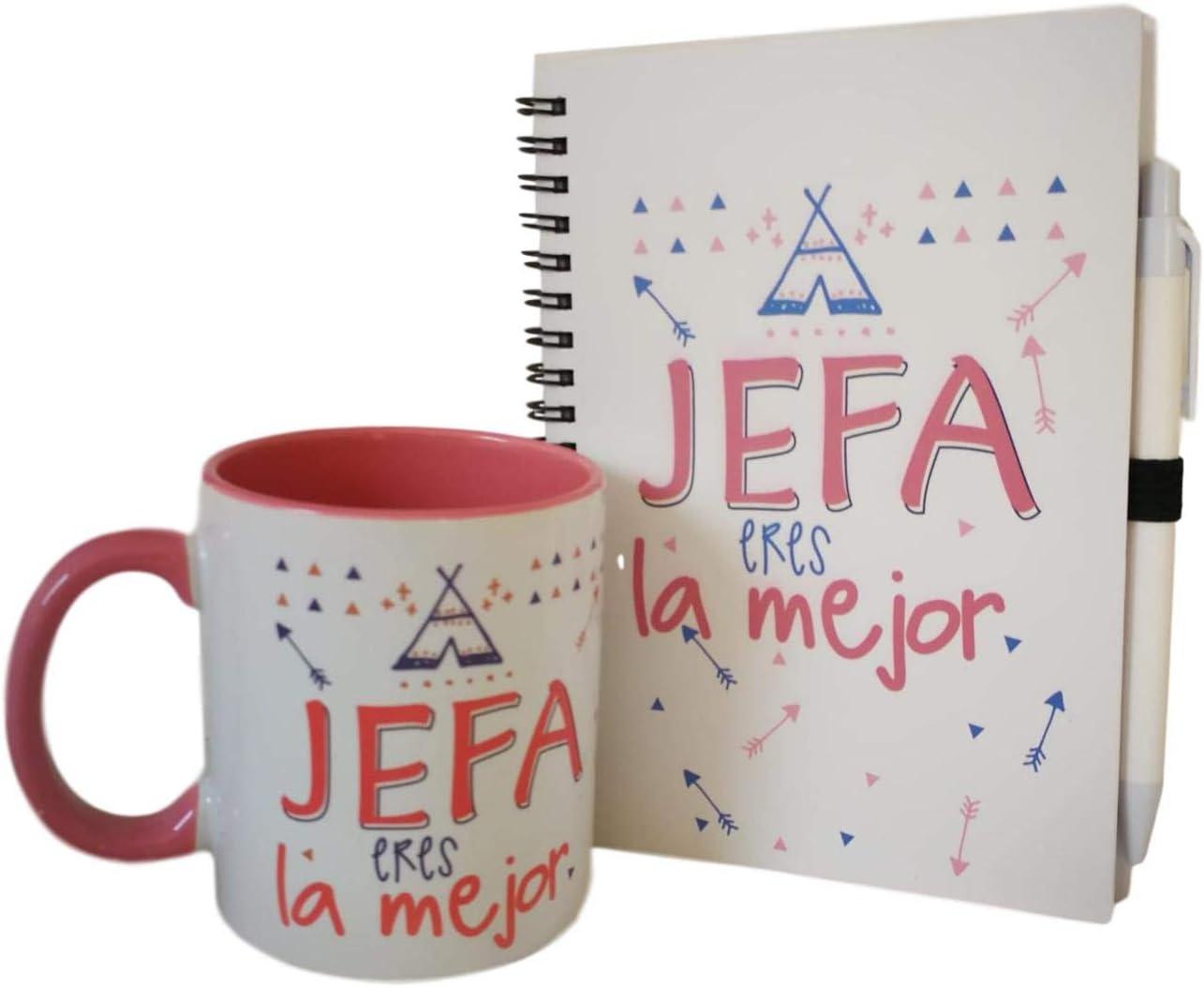 Pack DE Taza Y LIBRETA Mensaje JEFA Eres LA Mejor (Rosa)