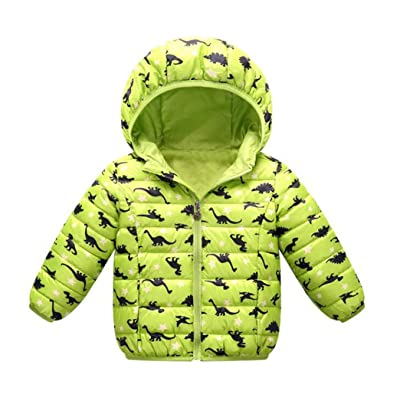Baby Little Boys Winter Dinosaur Puffer Down Jacket Coat Boys Warm Hoodies Outwear Zipper Up