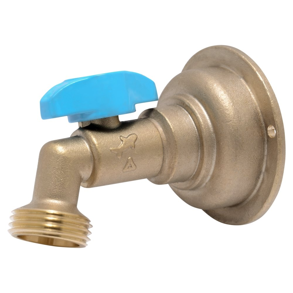 SharkBite 24621LFA Hose Bibb 90 Degree, 3/4 Inch x 3/4 inch Water Valve Shut Off, MHT Quarter Turn, Push-to-Connect, PEX, Copper, CPVC, PE-RT