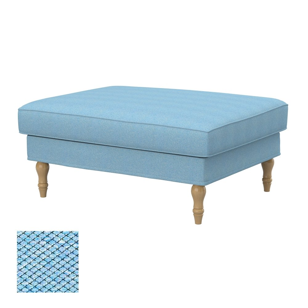 Soferia - IKEA STOCKSUND footstool cover, Nordic Blue by Soferia
