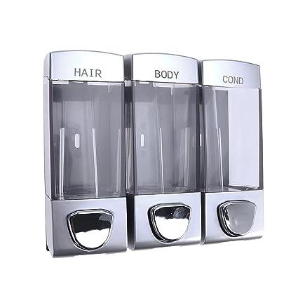 OUNONA - Dispensador de jabón de Pared para champú con Tres Tomas para Ducha de baño