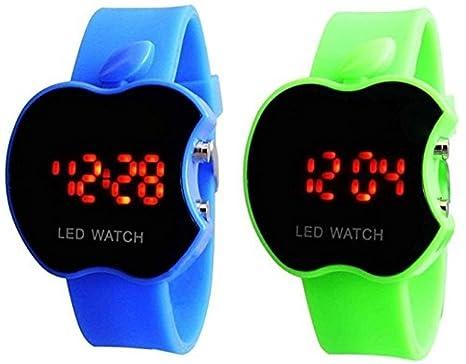 swissrock azul y verde COMBO Apple forma niños Digital LED reloj de pulsera