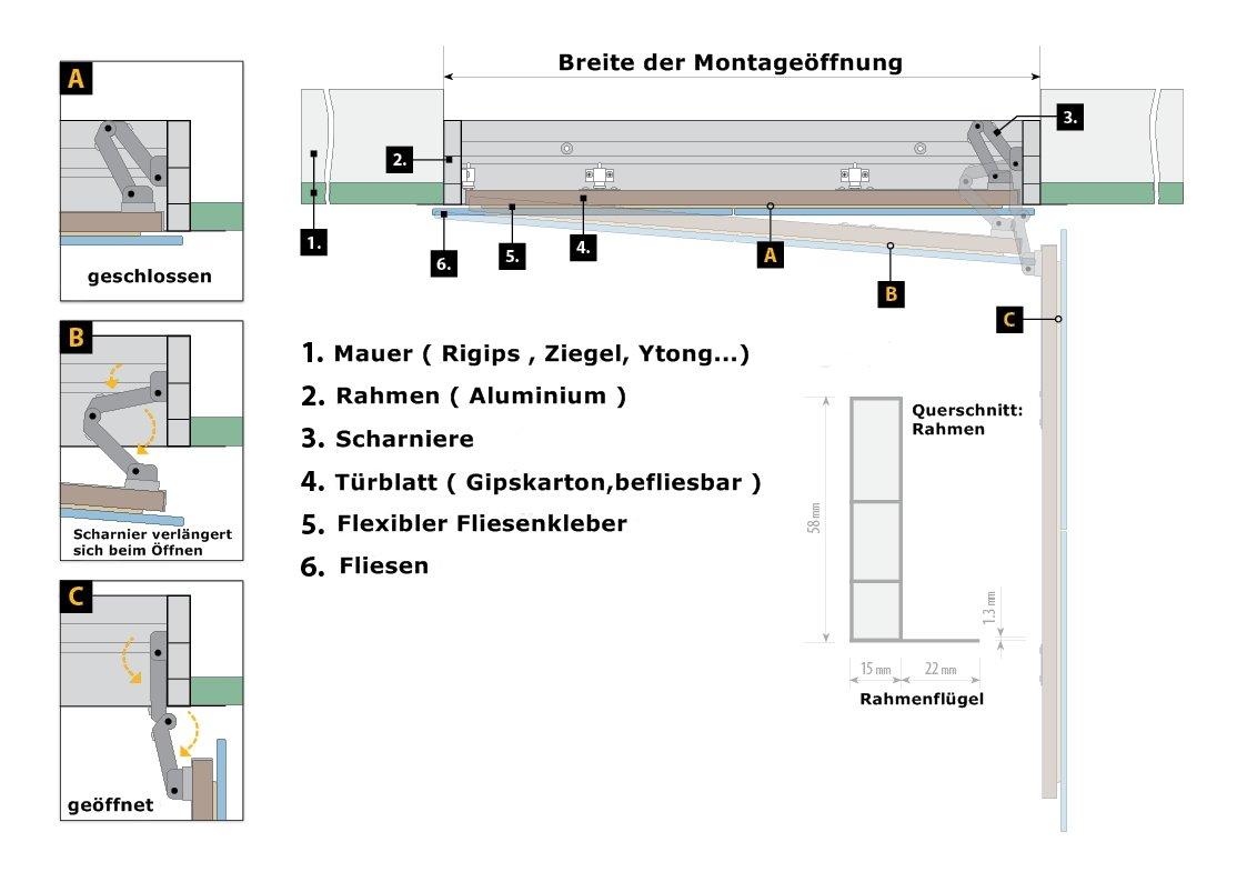Gr/ö/ße RD-AL//S:500 x 900 mm Profi Revisionst/ür Revisionsklappe patentiertes T/ürsystem 11 Gr/ö/ßen befliesbar