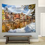 wall26 - Beautiful Canals of Girona Town - Spain - Fabric Wall Tapestry Home Decor - 68x80 inches