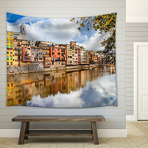 wall26 - Beautiful Canals of Girona Town - Spain - Fabric Wall Tapestry Home Decor - 68x80 inches by wall26