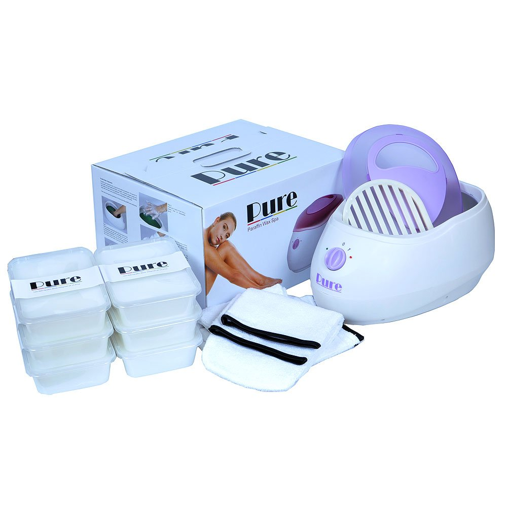 PURE Fragrance Free Paraffin Wax Heater Kit - Including PURE Paraffin wax Heater, 6 PURE Plain Wax blocks, Mitts & Booties