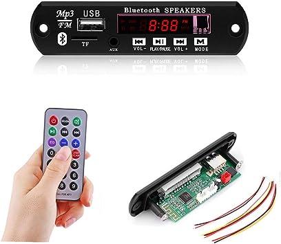 TiooDre Radio USB Bluetooth Coche MP3 WMA decodificador Junta M/ódulo de audio inal/ámbrico 12V USB TF