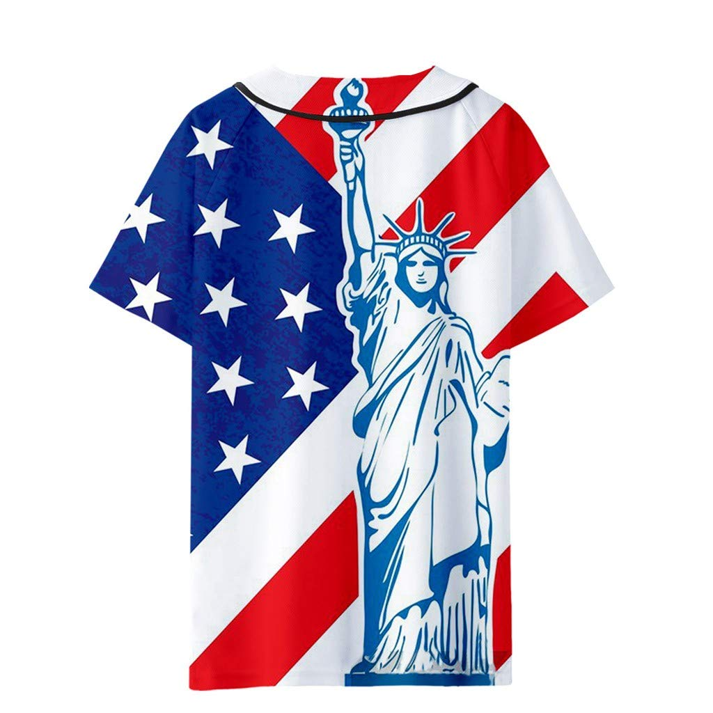 Homlifer Couple T-Shirts Summer USA Star-Spangled Banner Flag Bald Eagle Printed Short T-Shirt Baseball Uniform Loose Casual Shirts for Independence Day