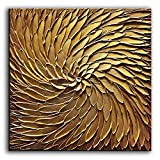 YaSheng Art -30x30inch Large Abstract Art Oil Paintings on Canvas Metal Golden Gradient Color Abstract Artwork Modern Home Decor Canvas Wall Art Ready to Hang for Living Room Bedroom
