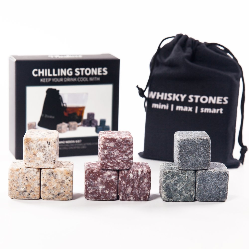 Mealivos Set of 9 Chilling Stones [Chill Rocks] Whiskey Stones for Whiskey and other Beverages with Velvet Carrying Pouch (Multi)