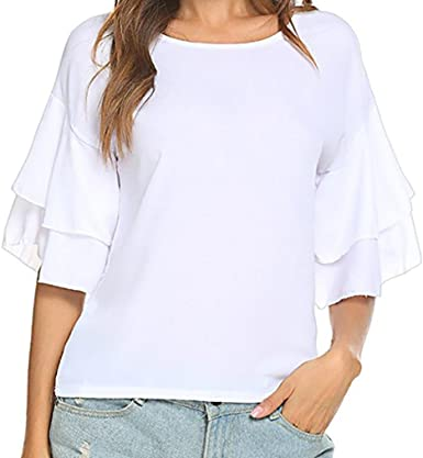 NREALY Pullover Womens Fashion Long Sleeve O-Neck Casual Ruffle T-Shirt Blouse Tops