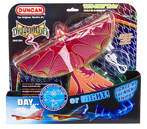 Duncan 3681dh Dragon Hawk Light Up Flying Bird Day Night Motorized Toy With Shake Auto Start Usb Charger 2 Flight Positions
