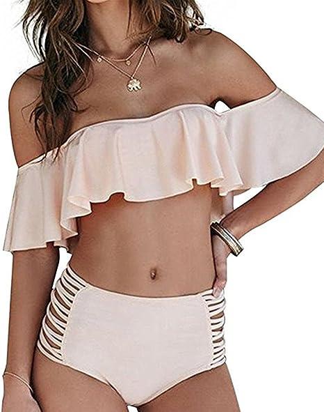 Amazon.com: Dellytop Traje de baño para mujer con hombros ...