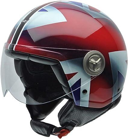 Amazon.es: NZI 3D Vintage II Union Jack Casco de Moto, Blanco/Azul/Rojo Detalle Bandera Británica, S