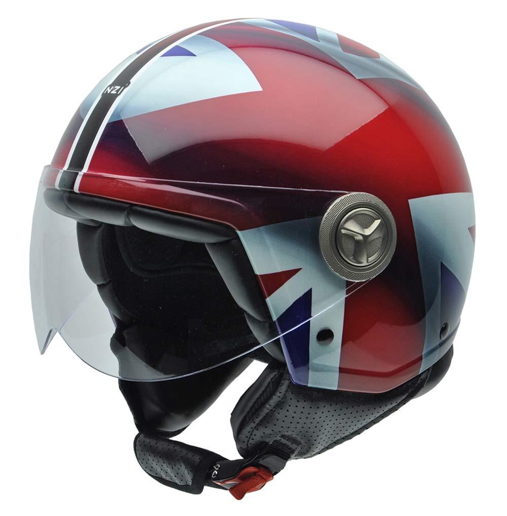 British Flag Detail NZI 490004G332 3D Vintage II Union Jack Open Face Motorcycle Helmet White//Blue// Red S