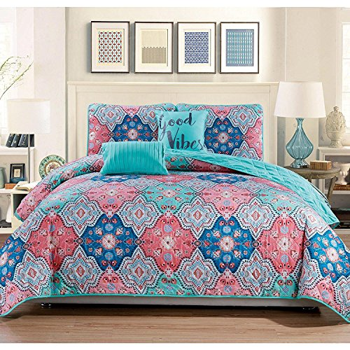 Coral Turquoise Flower (5pc Pink Aqua Blue Queen Quilt Set, Polyester, Medallion Themed Bedding Bohemian Boho Geometric Floral Flower Ivory Vintage Retro Turquoise Cute Coral Pretty Hippie Vibrant Colorful, Cotton)