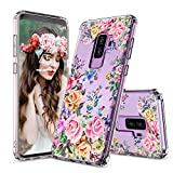 Galaxy S9 Plus Case, Galaxy S9 Plus Case for Girls, MOSNOVO Roses Garden Floral Printed Flower Pattern Clear Design Plastic Case with TPU Bumper Protective Case Cover for Samsung Galaxy S9 Plus (2018)