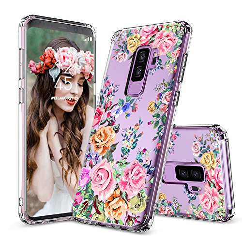 Galaxy S9 Plus Case, Galaxy S9 Plus Case for Girls, MOSNOVO Roses Garden Floral Printed Flower Pattern Clear Design Plastic Case with TPU Bumper Protective Case Cover for Samsung Galaxy S9 Plus (2018) by MOSNOVO