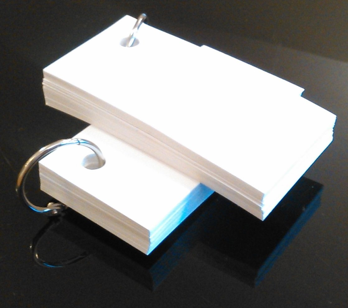 Blank White Card Key Ring Set of 2 x 50 Cards Blank Flash Cards Inc.