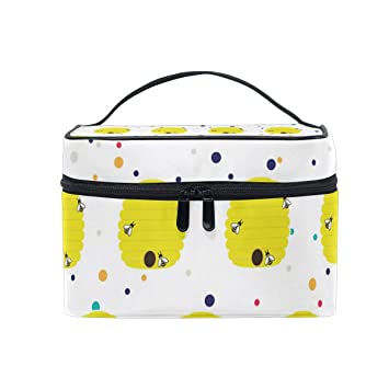 95e419dedd Amazon.com   Beehive Bees Cosmetic Bags Organizer- Travel Makeup Pouch  Ladies Toiletry Train Case for Women Girls