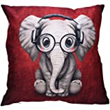 Viahwyt Cushion Cover Couch Super Kawaii Animal Print Cushion Covers 45cm x 45cm Square Pillow Case For Sofa Bed Car Restaurant Home Decor New Home Gifts For Kids (Elephant)