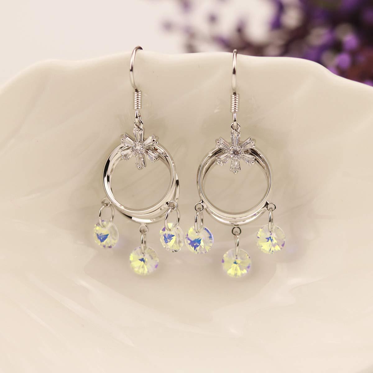 LANTAI Sparkle Cubic Zirconia Earrings Tassel CZ with Flower Rhinestone Earrings for Women Girls Silver