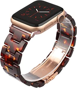 Wearlizer Tortoise Lightweight Resin Compatible with Apple Watch Band 38mm 40mm for iWatch SE Womens Mens Replacement Fashion Strap Wristband Bracelet (Copper Gold Steel Clasp) Series 6 5 4 3 2 1