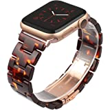 Wearlizer Tortoise Lightweight Resin Compatible with Apple Watch Band 38mm 40mm for iWatch SE Womens Mens Replacement Fashion