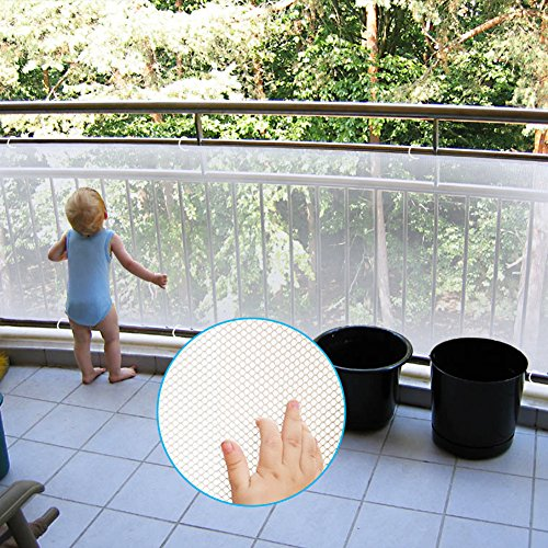Adsoner Child Safety Net – 10ft L x 2.5ft H, Balcony, Patios and Railing Stairs Netting, Safe Rail Net for Kids Pet Toy, Sturdy Mesh Fabric Material White