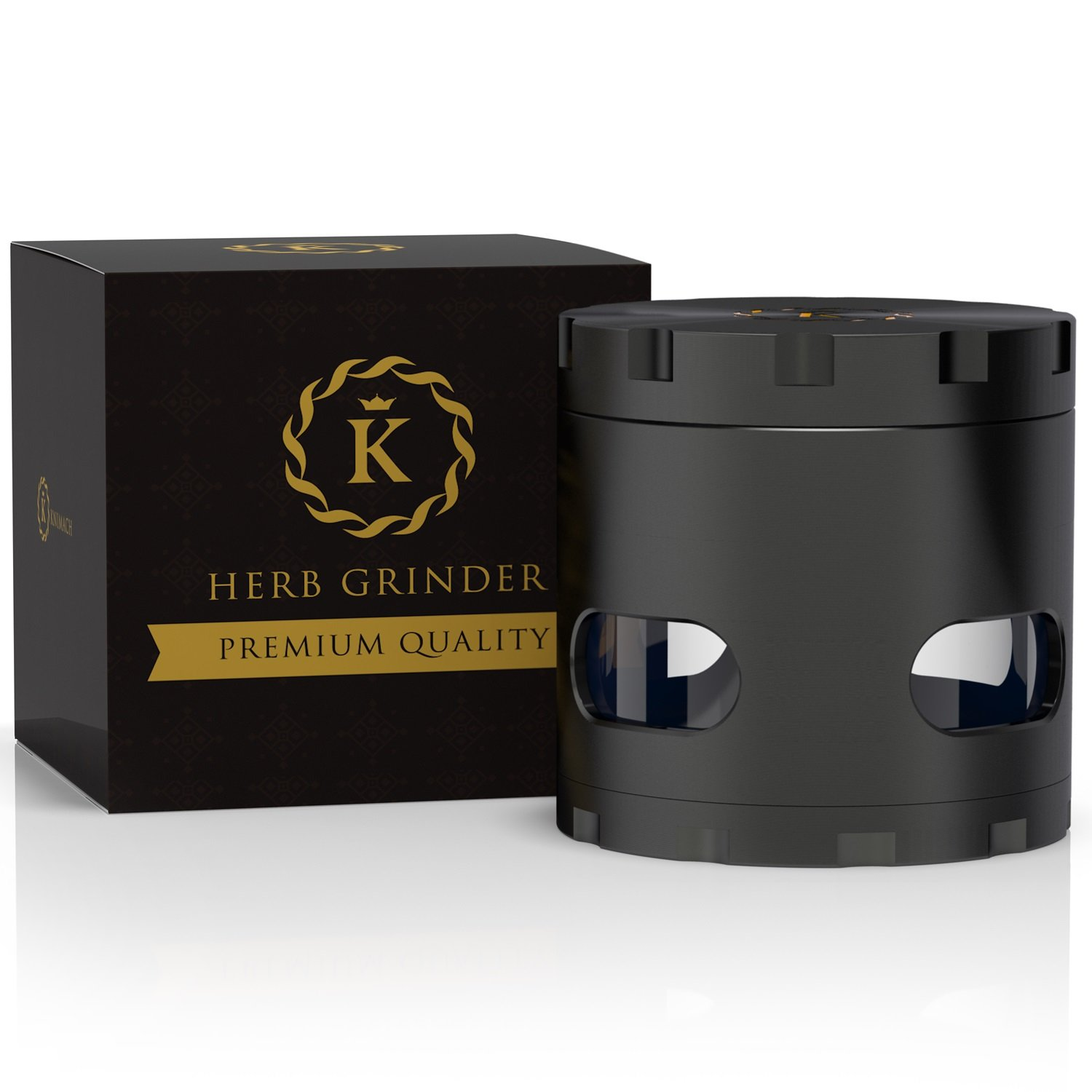 Herb And Spices 2 Inch 4 Piece Grinder With Pollen Catcher Tray 53 Perfect Grinding Teeth For All Grinding Purpose Very Easy To Clean Compact And Useful, Black Color. By K-brand by Knimach