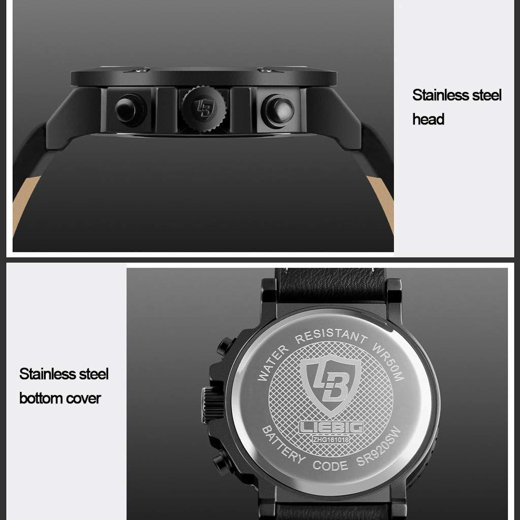 A Electronic Watches multifunktionell vattentät sportklocka, kalenderkronograf herrklocka av kvarts – flerfärgad Brun