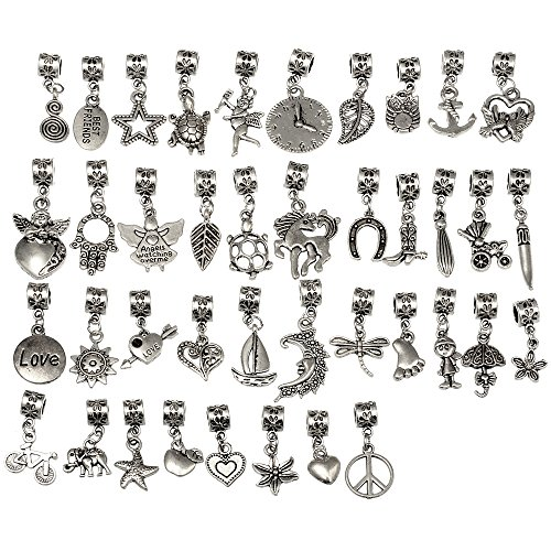 RUBYCA 40Pcs Tibetan Silver Color Connector Bails Mix Beads with Pendant fit Charm Bracelet 201 ()