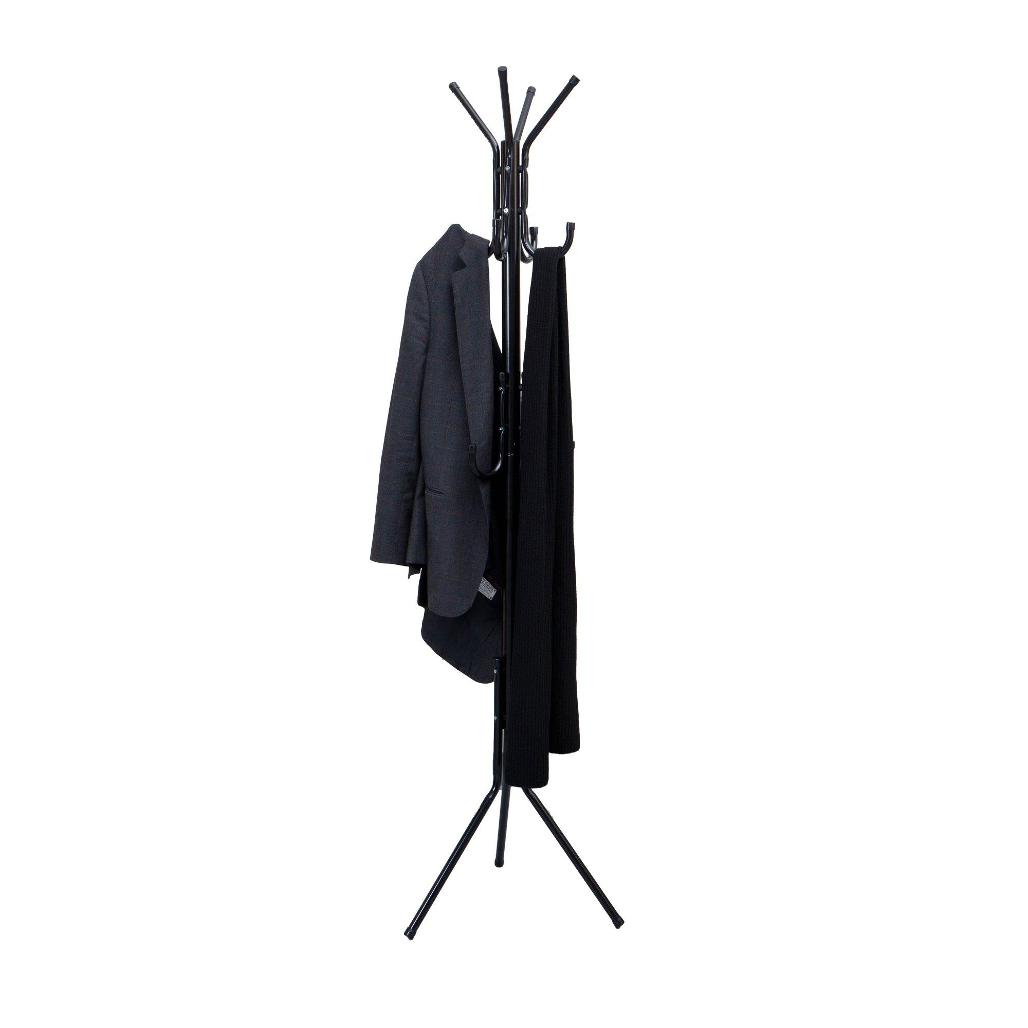 Mind Reader COATRACK11 Standing Metal Coat Rack Hat Hanger 11 Hook for Jacket, Purse, Scarf Rack, Umbrella Tree Stand…